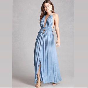 BOHO ME Plunging V-Neck Halter Maxi Dress